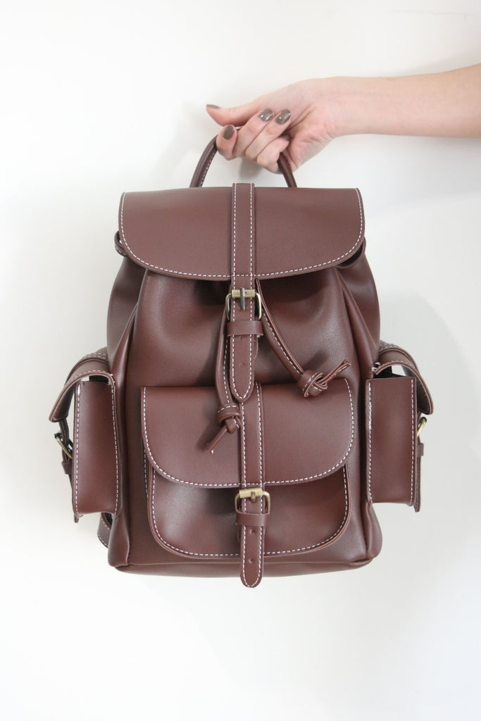 Classic Structured Pockets Backpack - Chocolate Brown