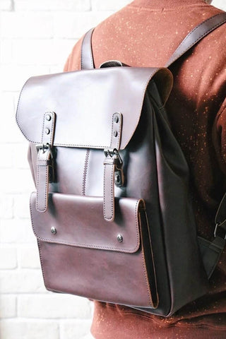 Foldover Leather-look Backpack - Brown