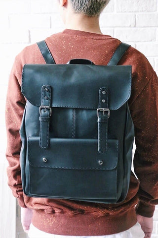 Foldover Leather-look Backpack - Black