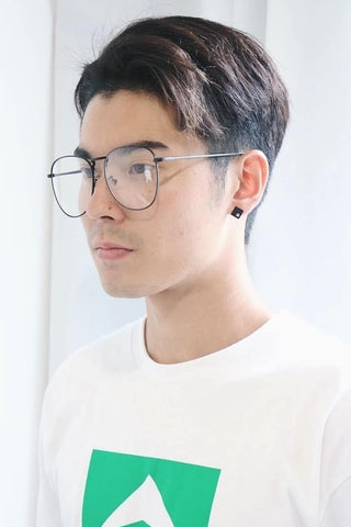 Oversized Metal Glasses - Black