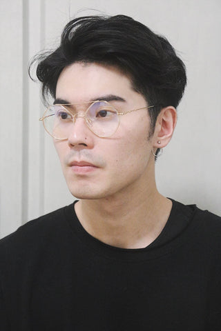 Octagon Round Glasses with double brow - Gold