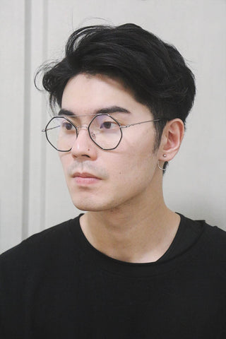 Octagon Round Glasses with double brow - Black / Silver