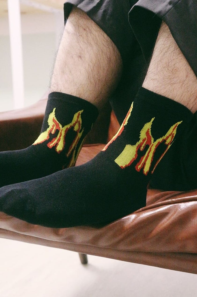 Fire Flame Socks - Black/Yellow