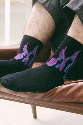 Fire Flame Socks - Black/Purple