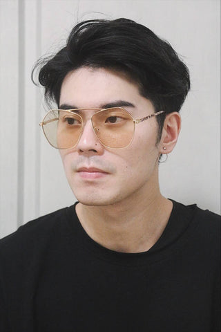 Flat Brow Oversized Sunglasses - Brown lenses