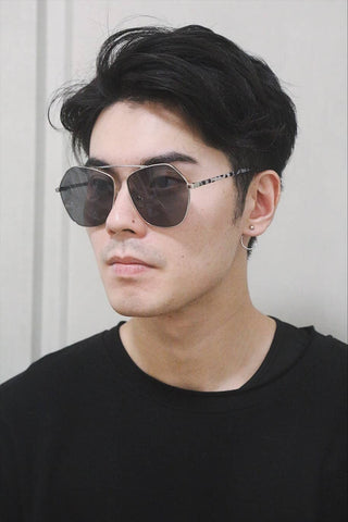 Flat Brow Oversized Sunglasses - Black lenses