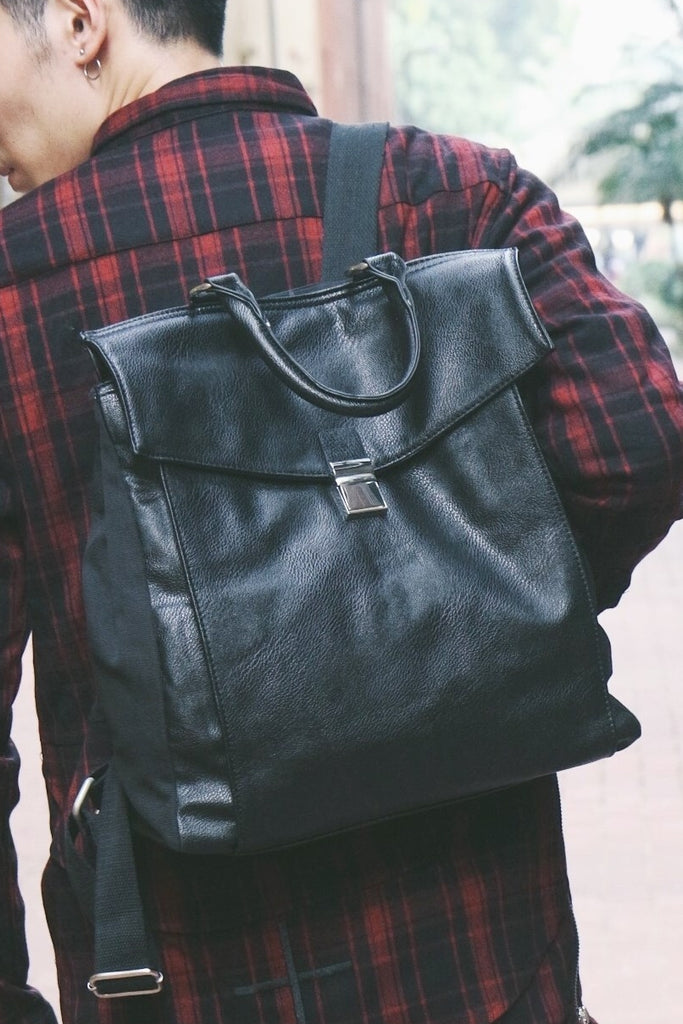 Foldover Leather-look Backpack