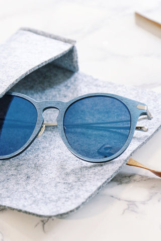 Blue Wood-Look Sunglasses