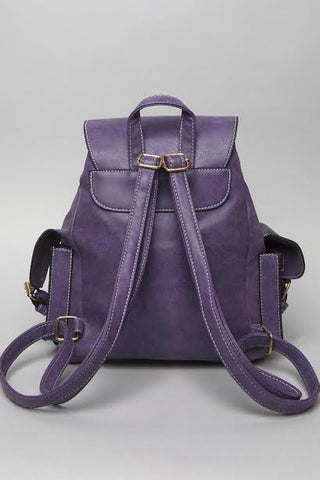 Purple Structured Pockets Mini Backpack