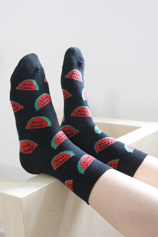 I'm Hungry Watermelon Socks - Black