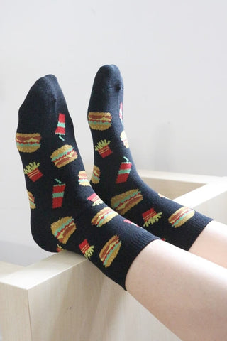 I'm Hungry Burgers Socks - Black