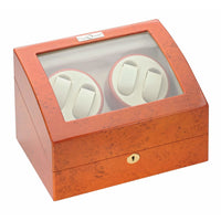 Diplomat Estate Burl Wood Finish Four Watch Winder with Cream Interior and Additional Storage
