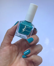 Load image into Gallery viewer, BLULU! 10 FREE GLOSSY TEAL BLUE NAIL COLOR, .51 FL OZ. NONTOXIC