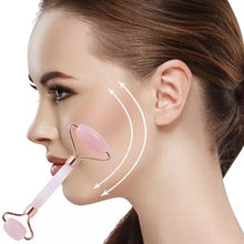 Load image into Gallery viewer, ROSE QUARTZ FACE ROLLER/ AT HOME FACIAL TOOL. ANTI-AGING, SOOTHING, REDUCES SKIN PUFFINESS.