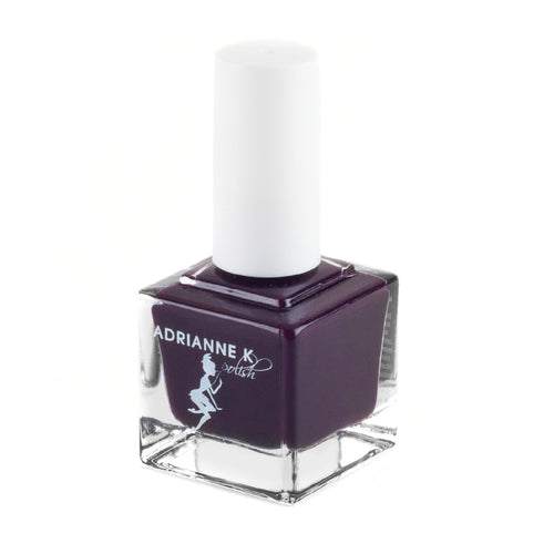 ADRIANNE K SHINY BLACK CHERRY NAIL POLISH, DIBA .51 FL OZ. GLOSSY FINISH. VEGAN. 10 FREE