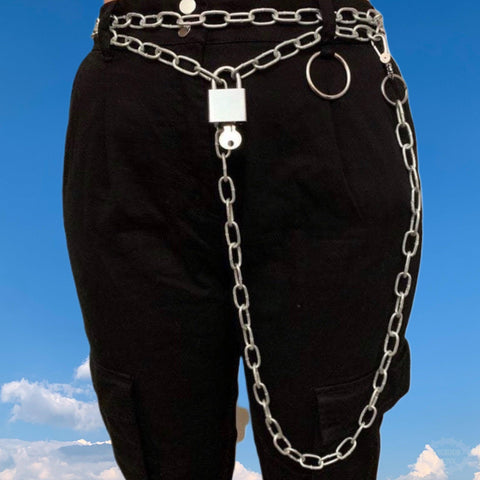 Chain Belt With Silver Padlock
