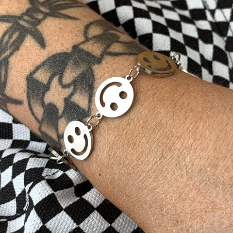Multi Smiley Stainless Steel Bracelet