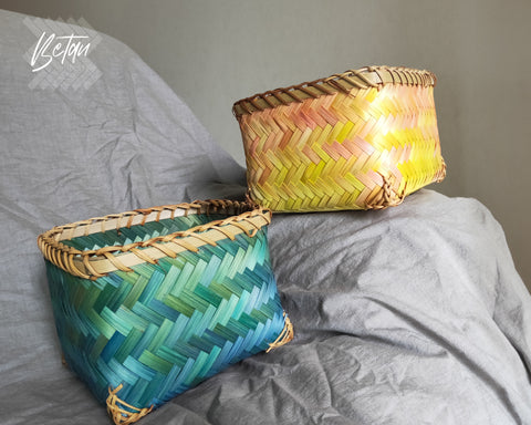 Tequila Sunrise -  Set of 2 Rattan Baskets Planter Storage Basket Boho Decor Bunte Körbe Blumenkorb