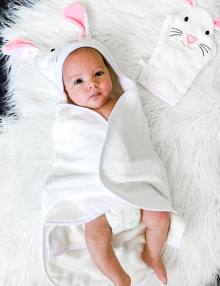 baby wrapped in bunny design baby hooded towel