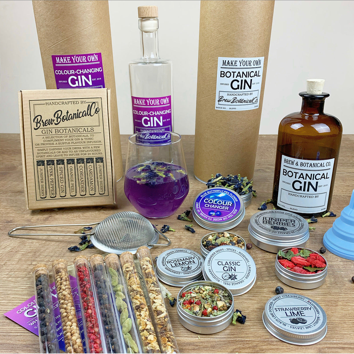 The Ultimate Gin Making Set | Make Your own Compound Gin, Colour-Changing & Garnish Set.