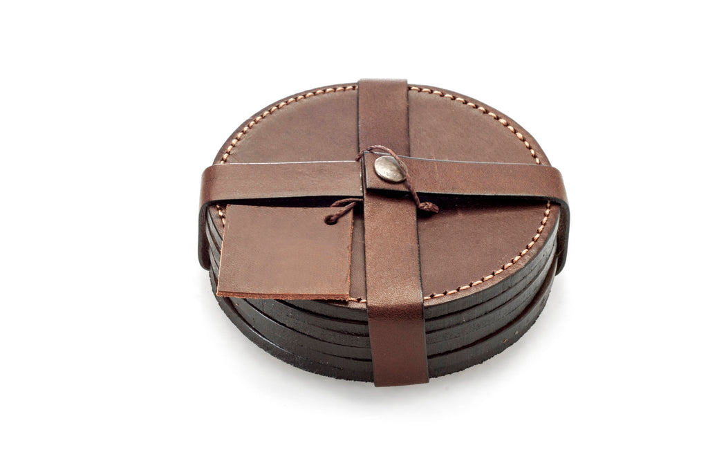 Leather Coasters , Leather Coaster Set (4pcs) , Leather Coaster Set , Argentinean Leather Coasters , Genuine Leather Coasters