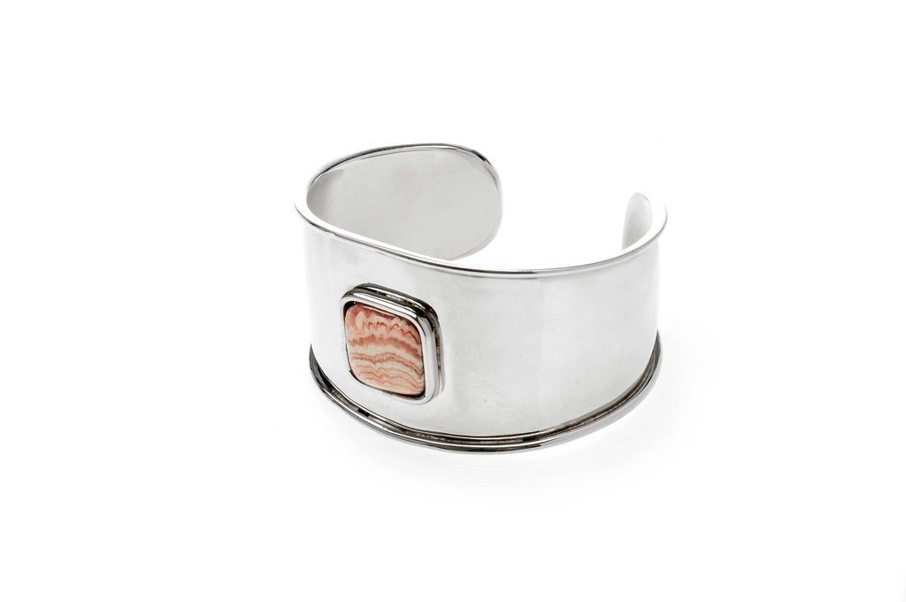 Rodochrosite stone and nickel silver cuff bracelet, girl gift, argentine tradition