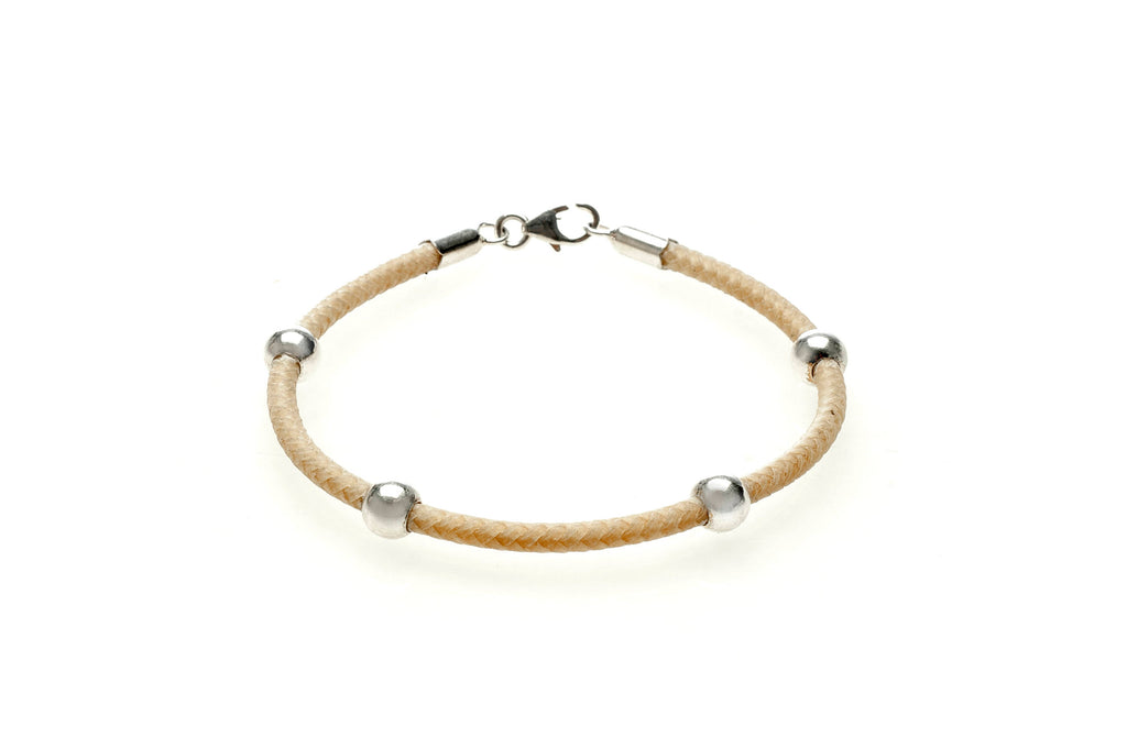 Sterling silver and raw leather bracelet