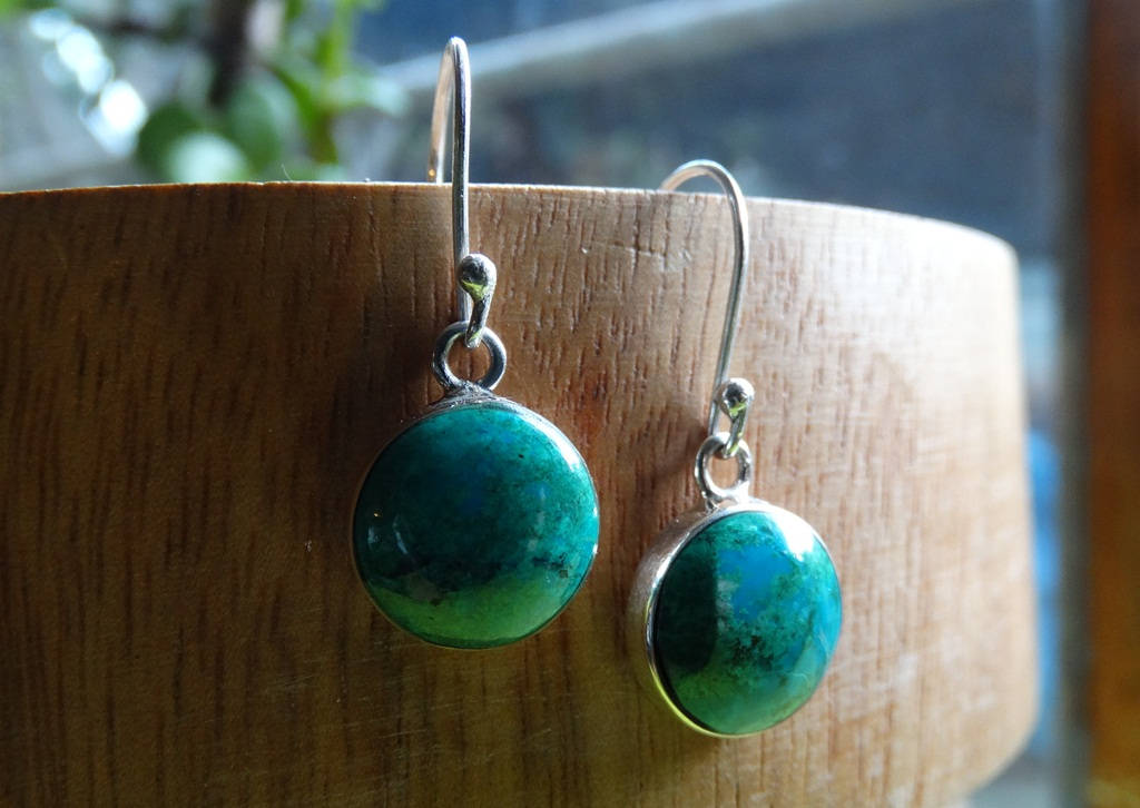 Turquoise earrings-Minimalist silver earrings -silver earrings- green stones silver-Boho jewelry -classic earrings- silver stones