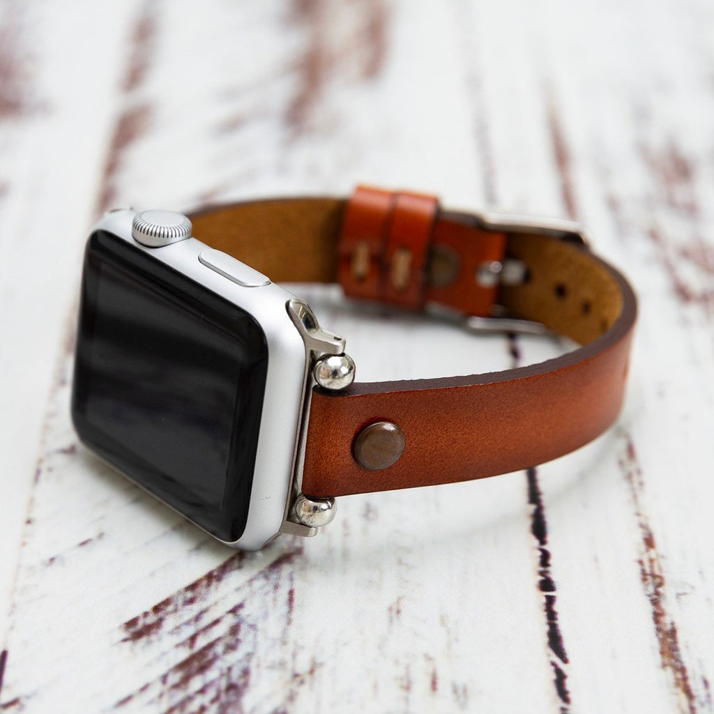 Brown Burnished Leather Apple Watch Band 38mm 40mm 42mm 44mm, Slim Leather Apple Watch for Women, iWatch Band, Gift for Sister