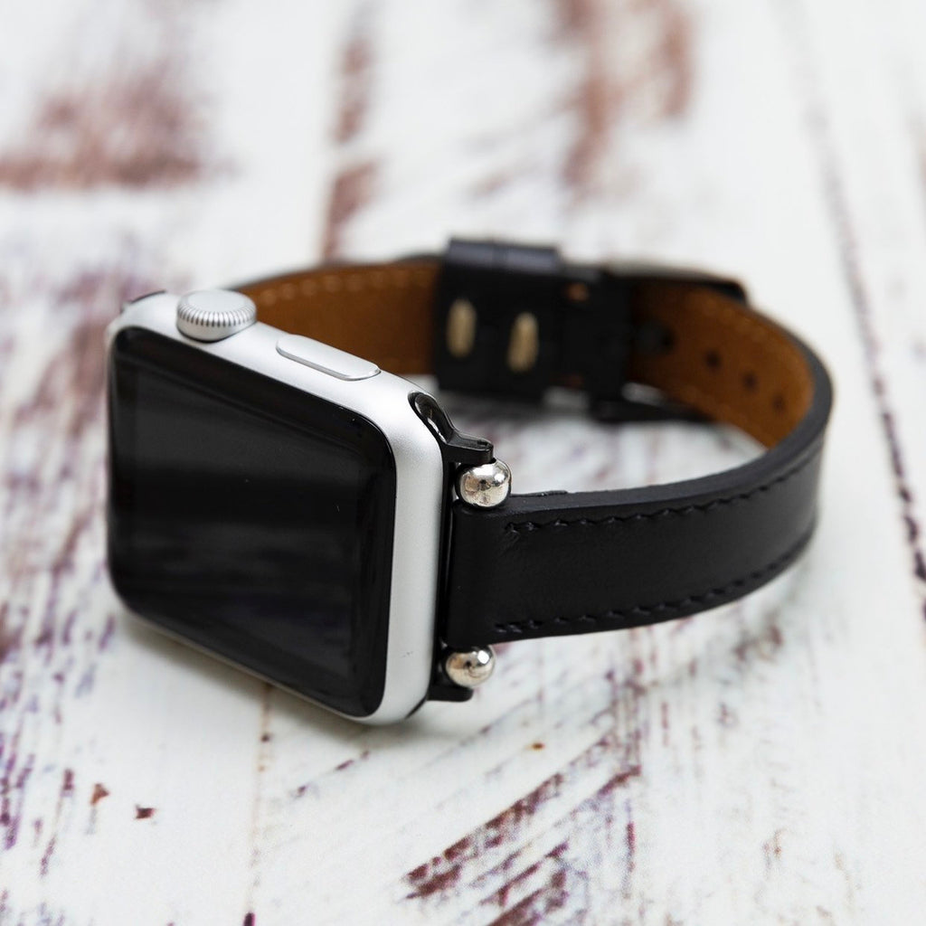 Black Slim Genuine Leather Apple Watch Band 38mm 40mm 42mm 44mm, Apple Watch Band, Beady iWatch Strap, Gifts for Her Sister Wife