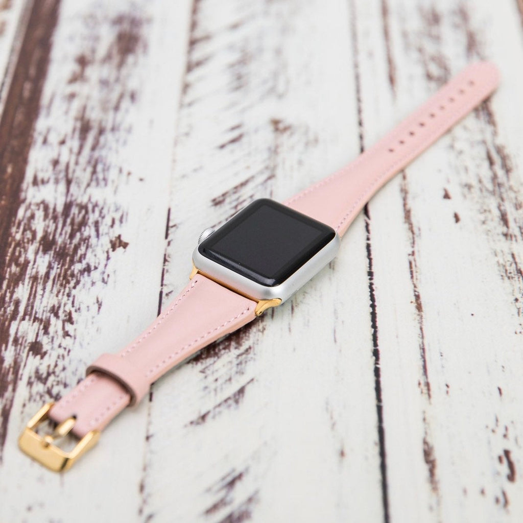 Pink Leather Apple Watch Band 38mm 40mm 42mm 44mm, Slim iWatch Band, Gift for Her, Best Anniversary Gift