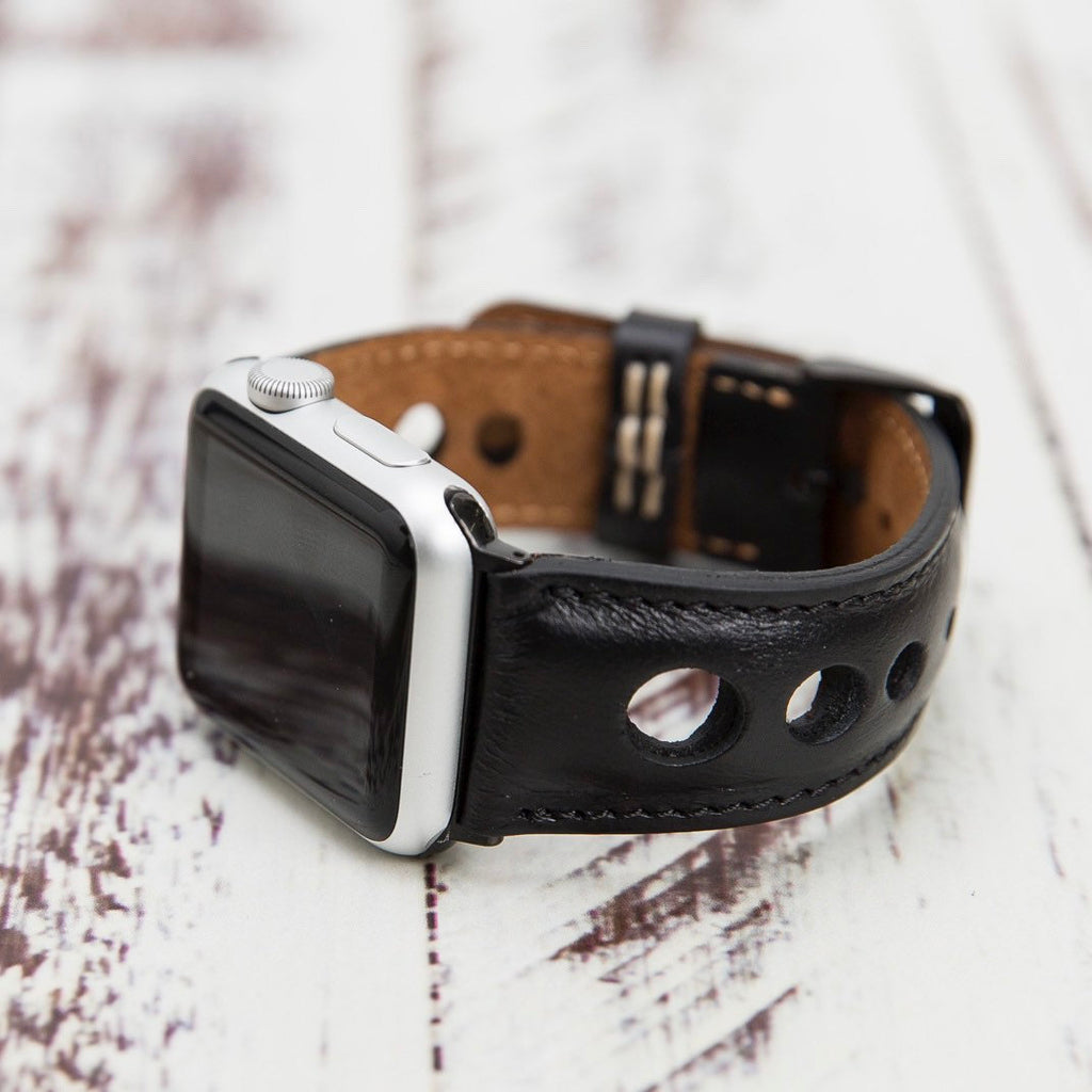 Black Holo Leather Apple Watch Band 38mm 40mm 42mm 44mm, Apple Watch Strap, iWatch Band, Gift for Her, Gift for Him, Best Anniversary Gift
