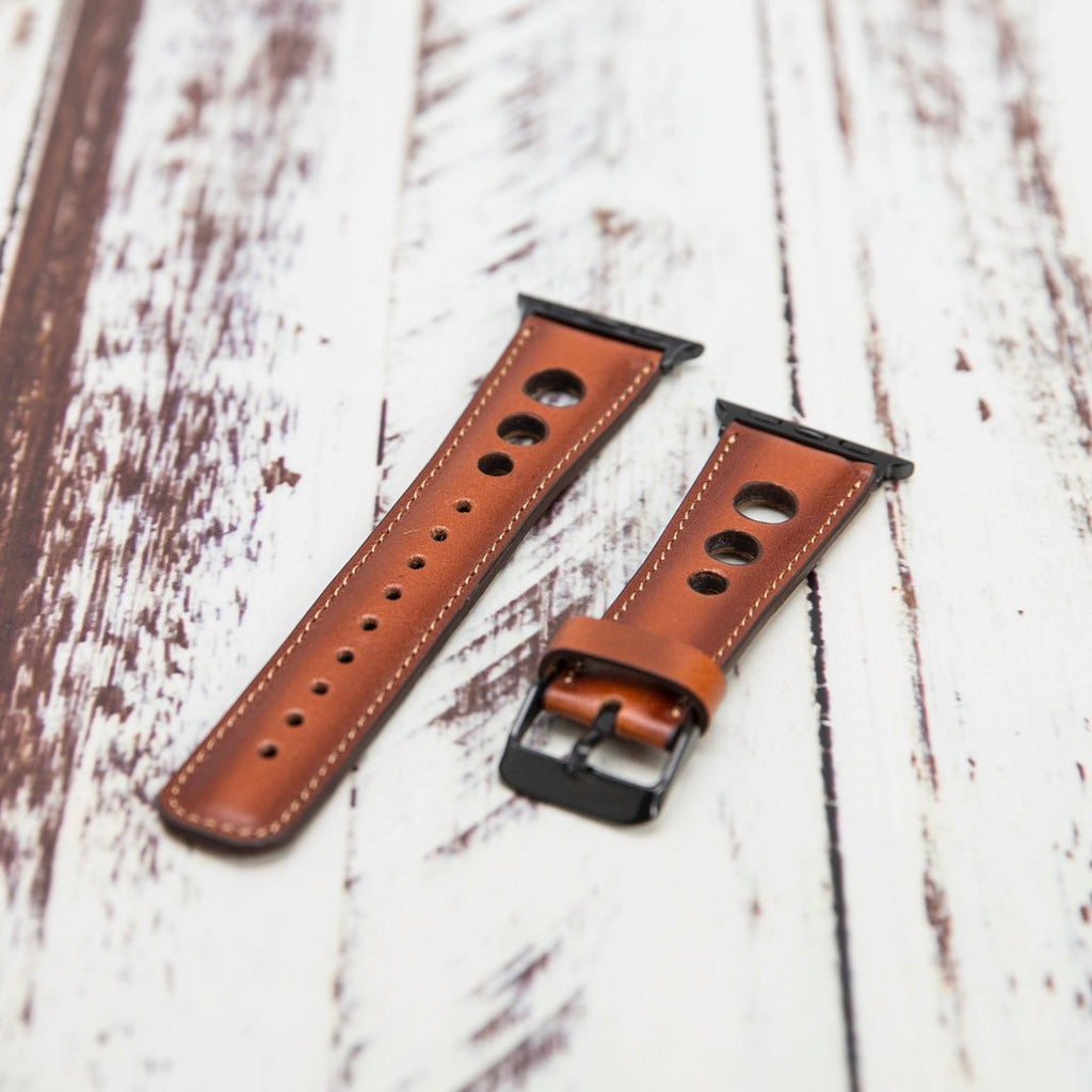 Brown Holo Leather Apple Watch Band 38mm 40mm 42mm 44mm, iWatch Band, Apple Watch Band, Gift for Him, Gift for Her