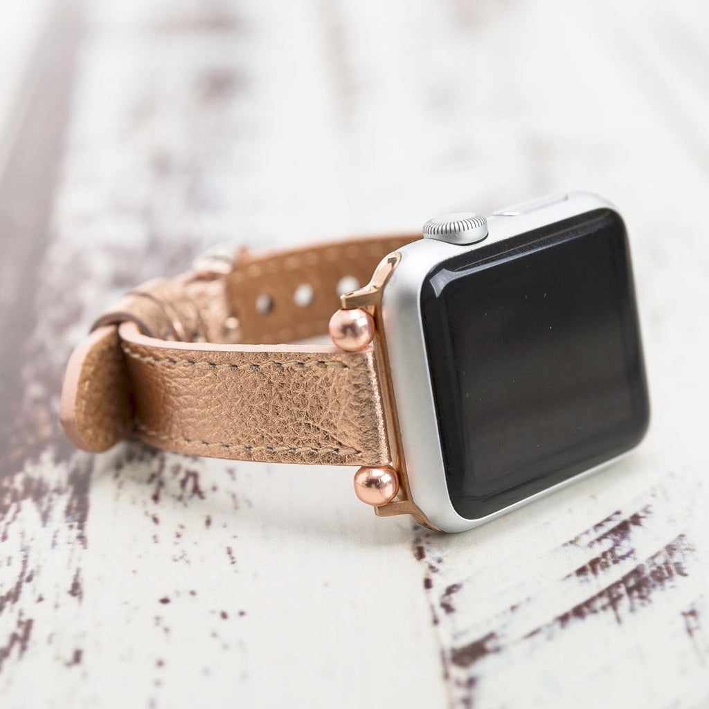 Rose Gold Leather Apple Watch Band 38mm 40mm 42mm 44mm, Slim iWatch Strap, Apple Watch Bracelet Women, iWatch Jewelry, Gift for Girlfriend
