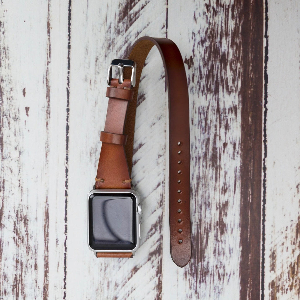 Brown Burnished Leather Apple Watch Band 38mm 40mm 42mm 44mm, Slim Double Wrap iWatch Strap Genuine Leather Series 5-4-3-2-1