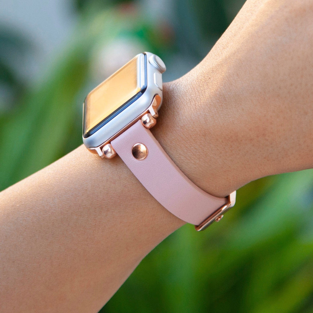 Genuine Pink Leather Apple Watch Band 38mm 40mm 42mm 44mm, Slim fit Band, Gift for daughter, Apple Watch Strap Women, iWatch Band