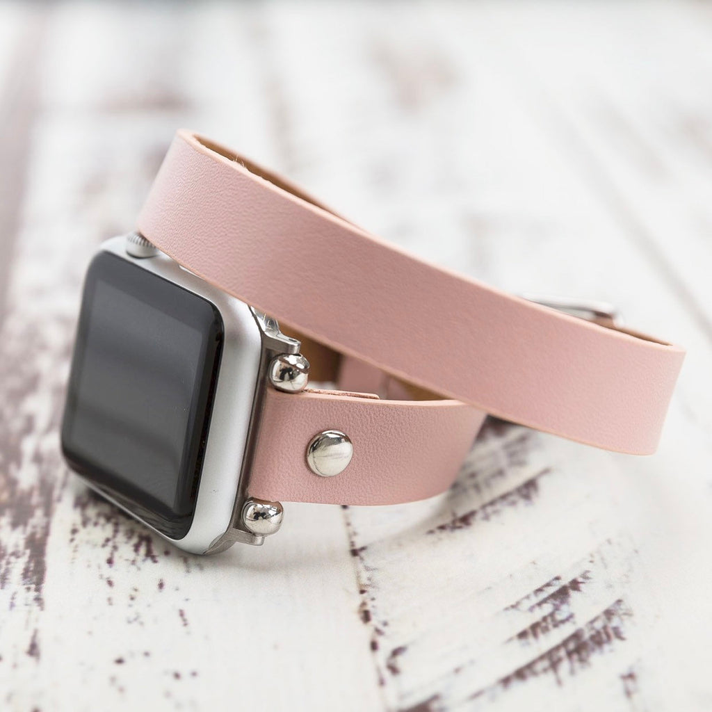 Nude Pink Slim Leather Apple Watch Band 38mm 40mm 42mm 44mm, Double Wrap iWatch Strap Genuine Leather Series 5-4-3-2-1