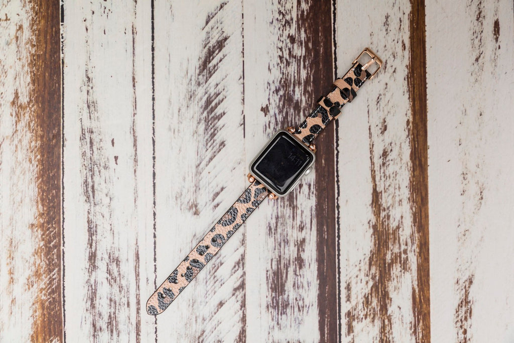 Leopard Patterned Slim Leather Apple Watch Band 38mm 40mm 42mm 44mm, Women Beady Slim iWatch Bracelet Jewelry, Gift for Her
