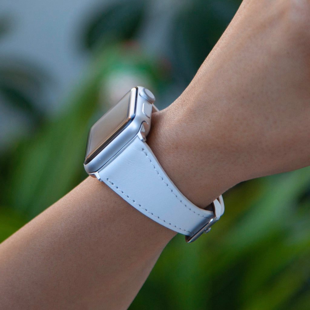 White Leather Slim Apple Watch Band 38mm 40mm 42mm 44mm, iwatch bracelet, Apple Watch Band Women, Gift for Sister, Gift for Wife, Anniversar