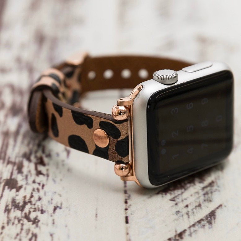 Leopard Pattern Apple Watch Band 38mm 40mm 42mm 44mm, Slim Leather Apple Watch for Women, iWatch Band, Gift for Sister