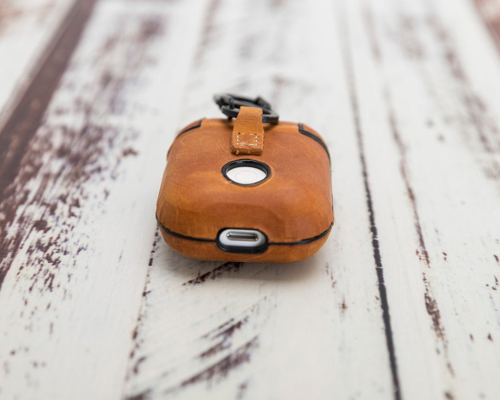 AirPods Case with Keychain, Personalized AirPods Leather Case Cover, Embossed AirPods Case