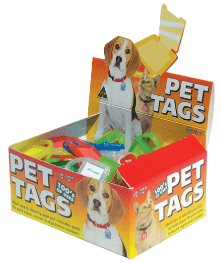 Kevron Pet Tag Box of 100 Mixed Colors