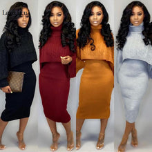 Load image into Gallery viewer, Sexy TWO PIECE SET Mini Skirt Outfits Crop Top Flare Sleeve Sweater Dress Women Jumper Suit Rib Winter Orange Blazer Knitted PCS - olalace