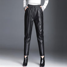 Load image into Gallery viewer, Women PU Leather Pants Fashion Drawstring Tie Ankle Trousers Elastic Waist Pants Pockets Black Streetwear Pantalones Mujer P162 - Hellosis.com