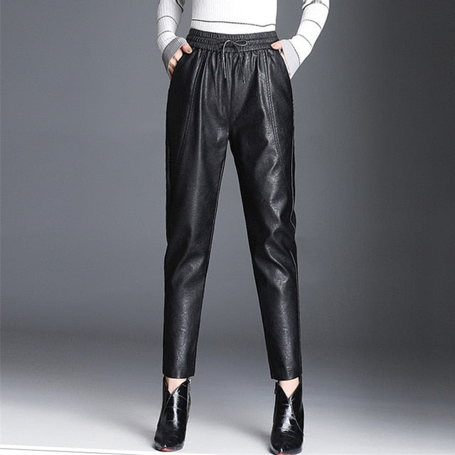 Women PU Leather Pants Fashion Drawstring Tie Ankle Trousers Elastic Waist Pants Pockets Black Streetwear Pantalones Mujer P162 - Hellosis.com