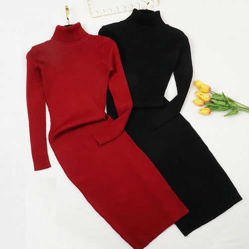 Knitted Dress Turtleneck Sweater Dresses - Hellosis.com