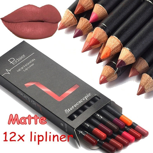 12 Colors Matte Lip Liners  Waterproof Long Lasting Lipstick Liner - olalace