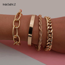 Load image into Gallery viewer, 4 Bracelet set, Cuban Bracelet, Bangle, Twisted Rope, Chain Bracelet - Hellosis.com