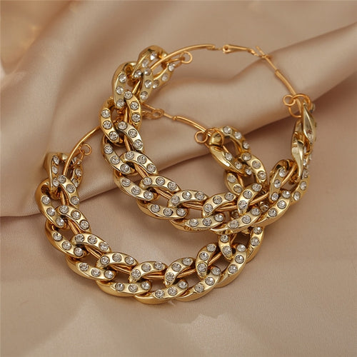 Diamante large gold chain hoop earrings. - olalace