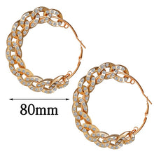 Load image into Gallery viewer, Diamante large gold chain hoop earrings. - olalace